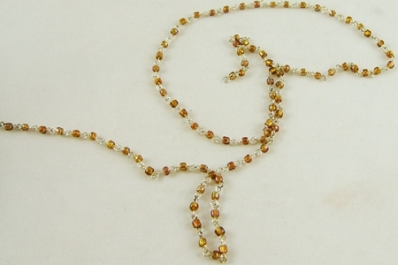 Amber Glass & Silvery Rosary Chain by the Inch