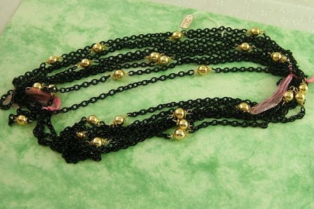 Vintage Black Enamel and Metallic Gold Chain by the Inch