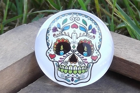 Brightly Colorful Sugar Skull Cabochon