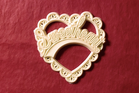 Vintage Ivory Plastic Lacy Sweetheart Heart Cabochon