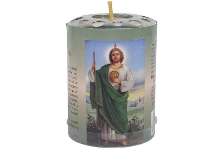 Saint Jude (San Judas) Paper & Metal Wrapped Votive Candle - 2-3/4 inches