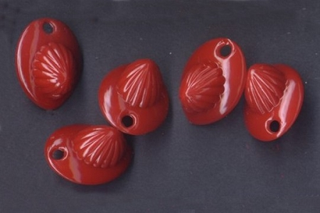 5 Rare Vintage Red Plastic Fire Helmet Charms
