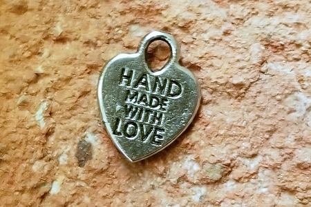 Little Silver Heart-Shaped Hand Made with Love Charm