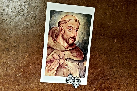 In Memory of my Dog Charm & St Francis of Assisi Holy Card