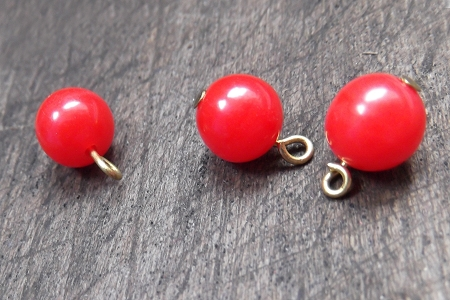 Vintage 8 mm Red Plastic Bead Drop (Charm or Pendant)