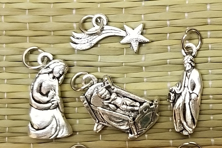 7-Piece High Quality Silvery Nativity Charm Set