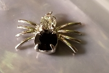 Silvery Jet Black Crystal Spider Charm