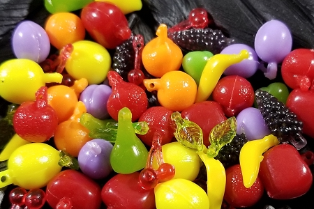 Tiny Plastic Fruit Charms  - Package of 10