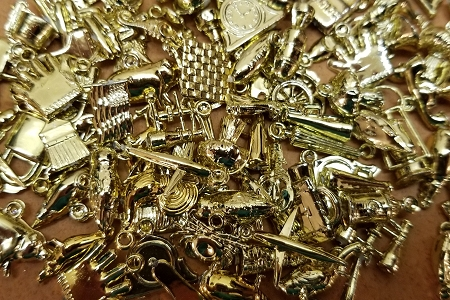 Grab Bag of 25 Vintage Gold Metal-Washed Hard Plastic Novelty Charms