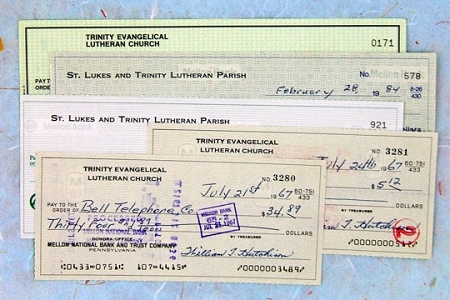 5 Vintage Church Checks from the Mid-20th Century