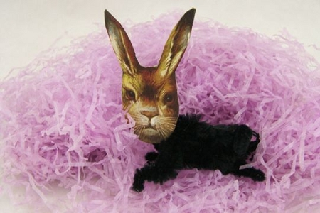 Black Vintage-Style Chenille Bunny with Scrap Head