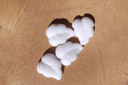 Vintage Chalk White Glass Leaf Shaped Stone