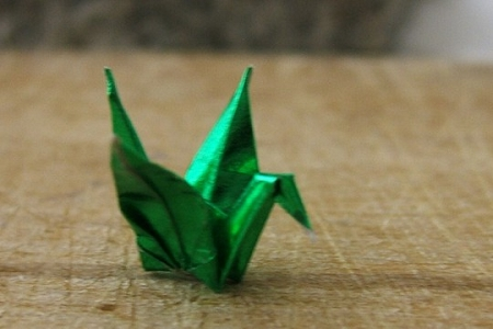 Teensy Emerald Green Metallic Origami Crane