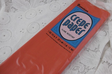 Vintage Dennison Orange Crepe Paper Folds in Original Packaging