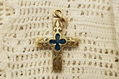 Artisan Super High Quality SOLID BRONZE Fleur-de-Lis CROSS Pendant with Blue Enamel Inlay