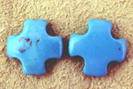 Blue Howlite Cross Bead