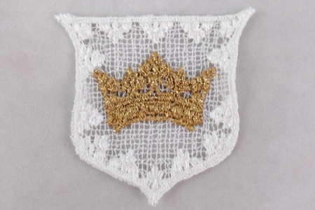 Metallic Gold Crown on White Crest Applique