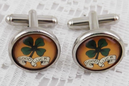 Good Luck Tattoo Cuff Links in Presentation Gift Box