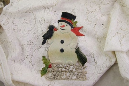 Large Vintage Die Cut Snowman and Crow Decoration with Glitter Accent