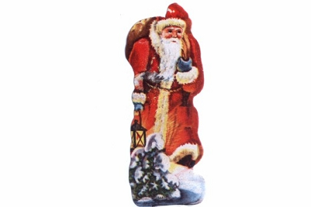 Small Vintage Santa Claus with Lantern Chromolithographed Scrap Picture