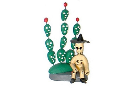 Large Day of the Dead Figure - Cuarandero con Nopal (Skeleton with Cactus)
