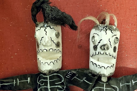 Day of the Dead Skeleton Doll - Wood, Fabric & Coconut
