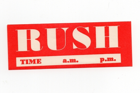 Vintage Dennison Gummed RUSH Labels - Package of 10