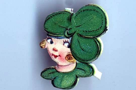 Vintage Shamrock Girl Die-Cut & Embossed Scrap - Set of 2