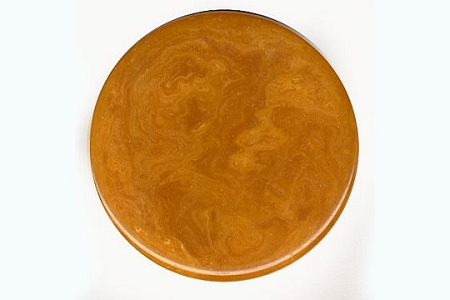 VINTAGE Bakelite Disk or Chip in Swirled Butterscotch