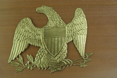 Vintage Golden Dresden Eagle with Sheild, Arrows and Olive Branch
