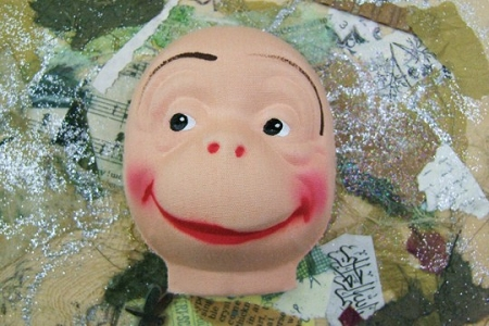 Vintage Pressed/Molded Fabric Monkey Face