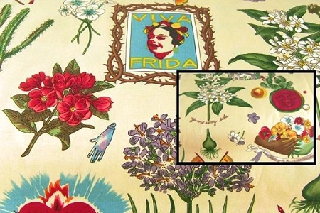 Frida Kahlo Images on Tea Dye Background - Half-Yard/s of Fabric