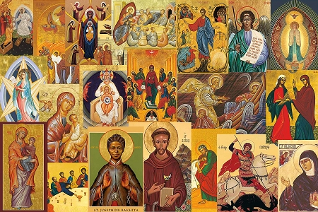 Elegant Assortment of 21 Icon Style Holy Cards