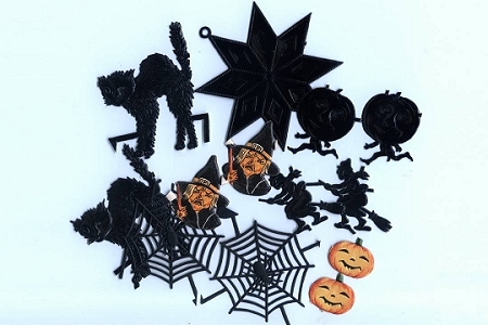 Assortment of 13 Halloween Dresdens and Scraps (Vintage and New)