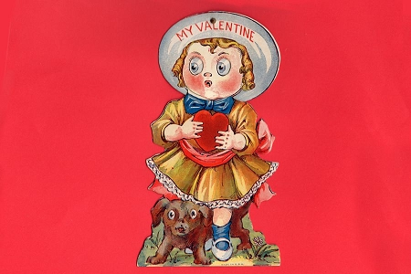 Vintage Mechanical MY VALENTINE Movable Eyes Card