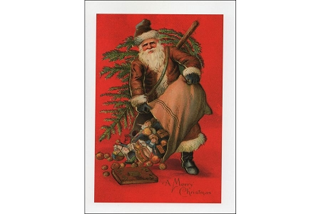 A Merry Christmas Greeting Card Featuring Santa With a Big Sack of Toys