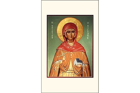 St Brigid Icon Style Holy Card - Patron Saint of Travelers, Babies, Fugitives & Sailors