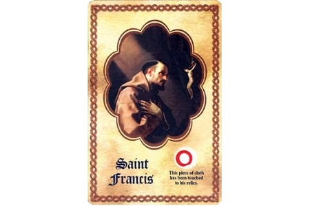 Laminated Saint Francis of Assisi Holy Card with 4th Class Relic