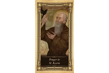 St Kevin Laminated Holy Card - Patron Saint of Crows, Ravens & Blackbirds