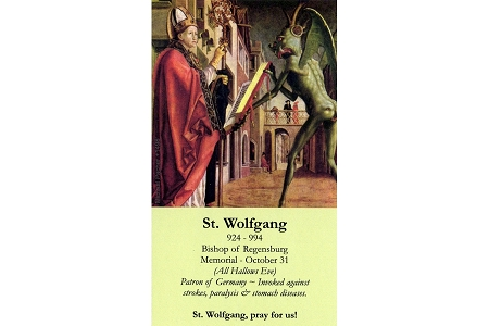 St Wolfgang Laminated Holy Card - Patron Saint of Those Suffering from Strokes, Paralysis and Stomach Diesases (and of Carpenters)