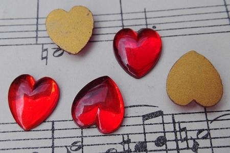 Vintage Red Glass Heart with Flat Foil Back