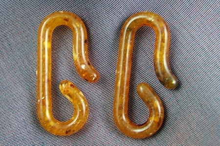 Set of 2 Vintage Tortoise Shell Lucite Hooks