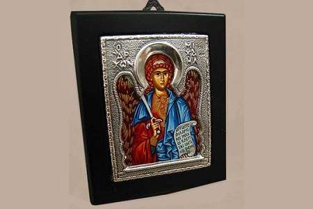 Saint Michael the Archangel Sterling Silver and Wood Icon