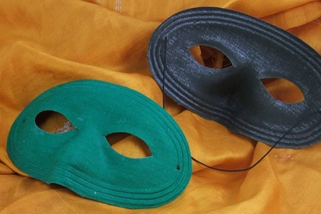 Vintage Fabric Mask - DARK GREEN with New BLACK Elastic