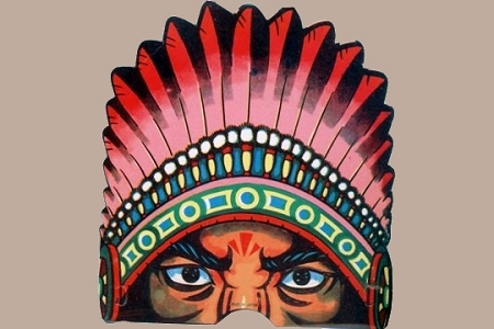 Vintage Hallowe'en Mask - Native American Indian Chief