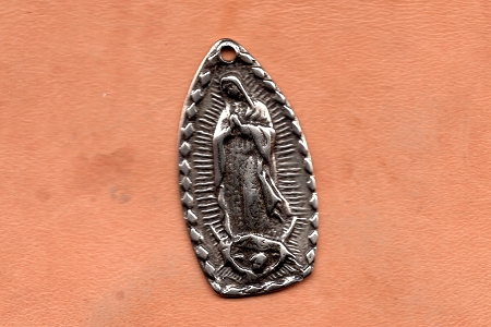 White Bronze Our Lady of Guadalupe Medal: Con Ella Todo, Sin Ella, Nada