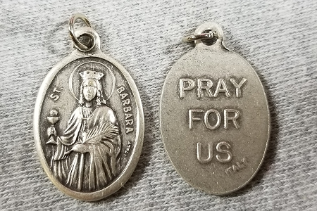 St Barbara Medal - Patron Saint of Architects, Mathematicians, Miners & the Military