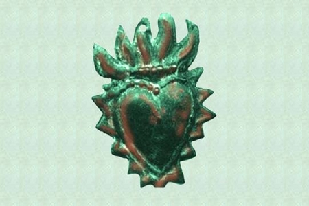 Hand-Made Copper Patina Sacred Heart Milagro