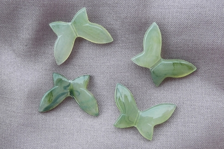 Kaleidoscope of Mottled Green Lucite Butterfly Motifs - Package of 4