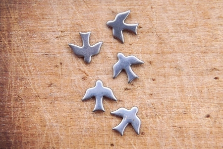 Vintage Group of 5 Tiny Silver Crow Stampings
